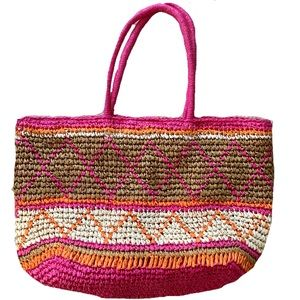 Boho Woven Straw Tote Bag by Charlie Paige